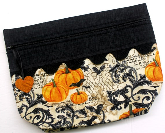 Lil' Big Bottom Bats & Pumpkins Cross Stitch Bag