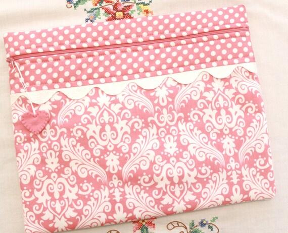 Pink Damask Cross Stitch Project Bag