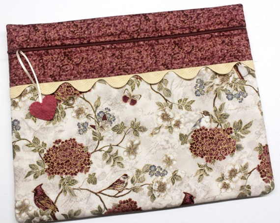 Gold Birds Hydrangeas Cross Stitch Project Bag
