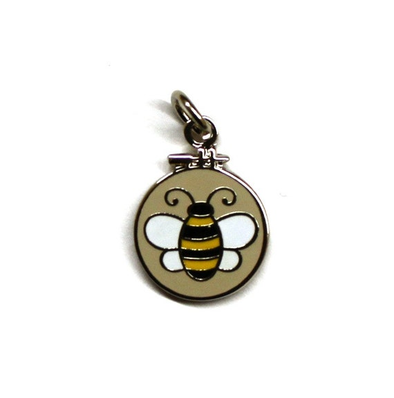 Exclusive Embroidery Hoop Bee Enamel Charm
