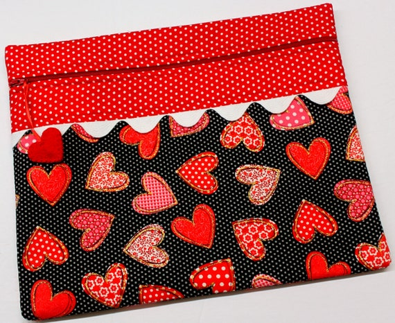 Patchwork Polka Dot Hearts Cross Stitch Project Bag