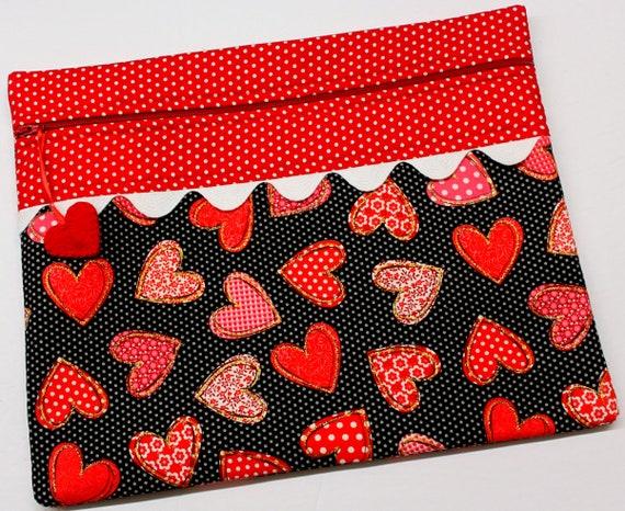 Patchwork Polka Dot Hearts Cross Stitch Project Bag