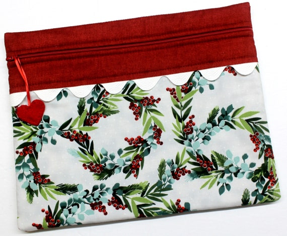 Frosted Holly Wreath Cross Stitch Project Bag