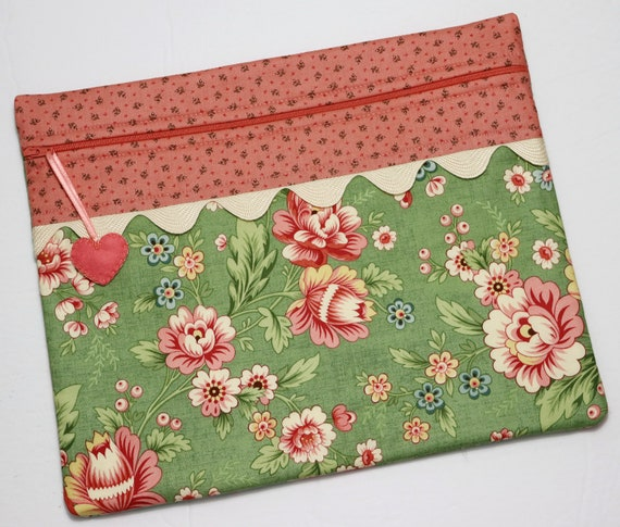 Coral Floral Cross Stitch Project Bag