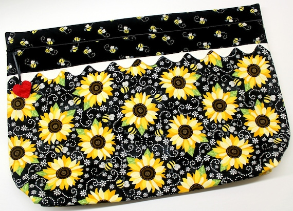 LOTS2LUV Bees Sunflowers Cross Stitch Project Bag