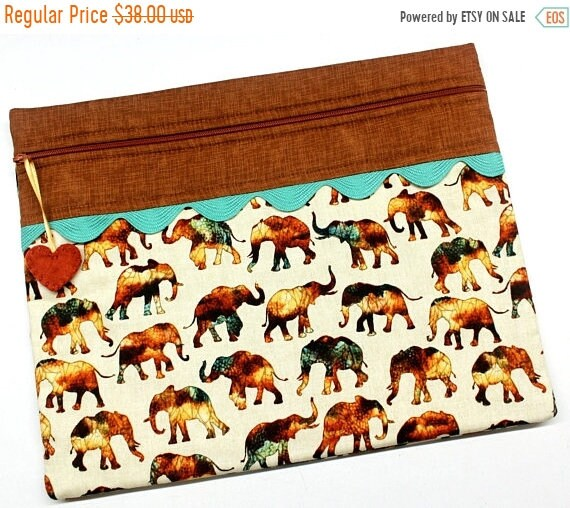 SALE African Elephants Cross Stitch Project Bag