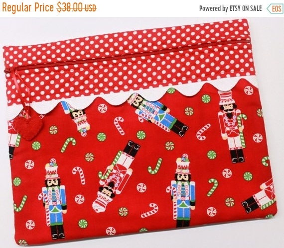 SALE Red Nutcrackers Christmas Cross Stitch Project Bag