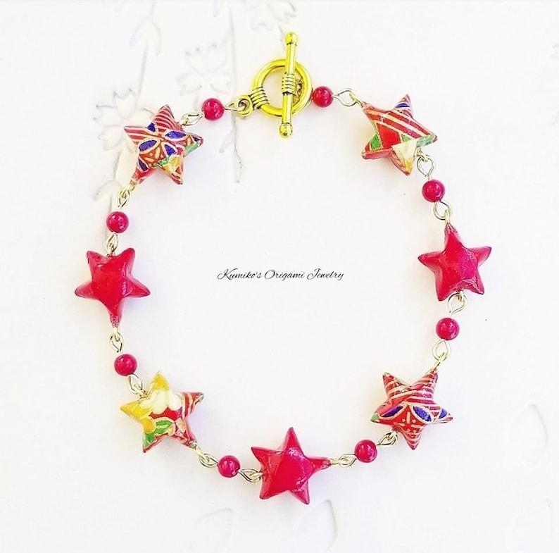 8.5 in21.6 cm with Brass No.03894 Origami Star Bracelet Japanese Origami Jewelry