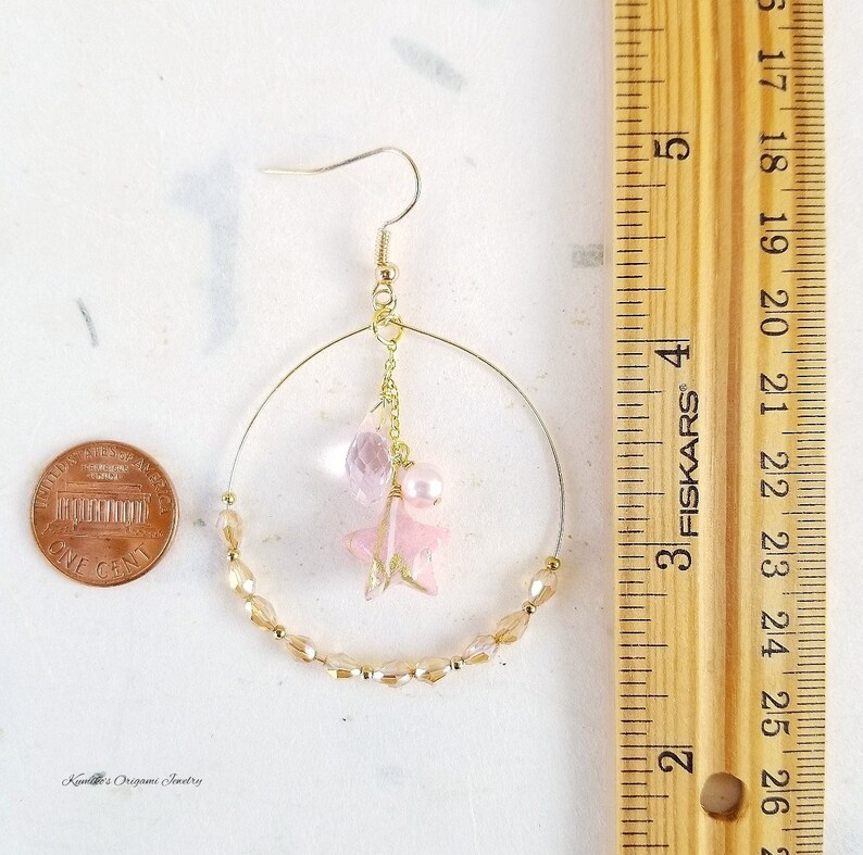 Japanese Origami Jewelry Kawaii Origami Star Earrings with 1.75 inch Hoops and Surgical Steel Hooks No.04031