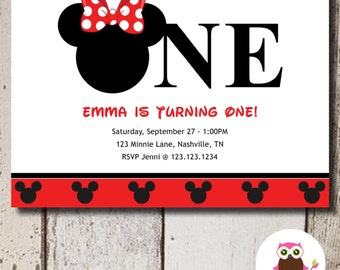 Minnie Mouse Invitation Birthday 1st