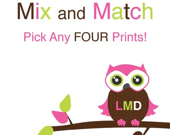 CUSTOM WALL ART -Mix and Match Any 4 Prints