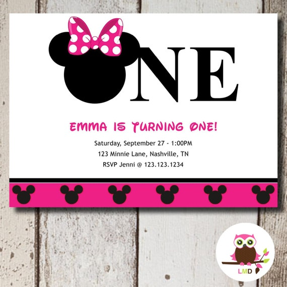 MINNIE MOUSE 1st Birthday Invitation Printable DIY