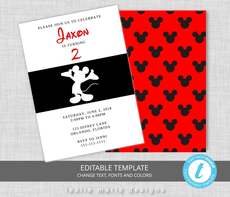 Mickey Mouse Birthday Invitation Invitations