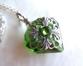 Emerald Green Diamond Essential Oil Perfume Bottle Necklace