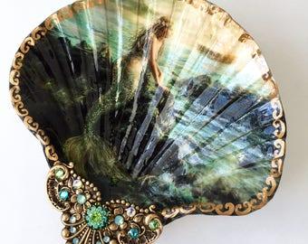 Decoupaged Shell Jewelry DishMermaid, Jewelry Storage Ring dish Jewelry Dish, Mermaid Dish, Mermaid Shell, Trinket Dish