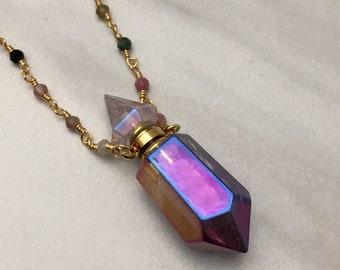 Aura Quartz Crystal Perfume Bottle Necklace