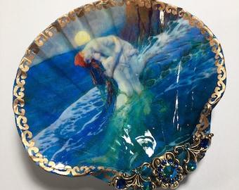 Decoupaged Shell Jewelry Dish Mermaid Jewelry Dish, Mermaid Shell