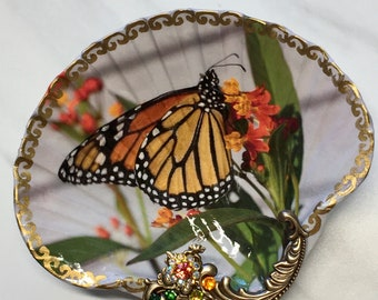 Decoupaged Shell Jewelry Dish Monarch Butterfly Shell Jewelry Dish Ring Dish Trinket Dish Jewelry Holder