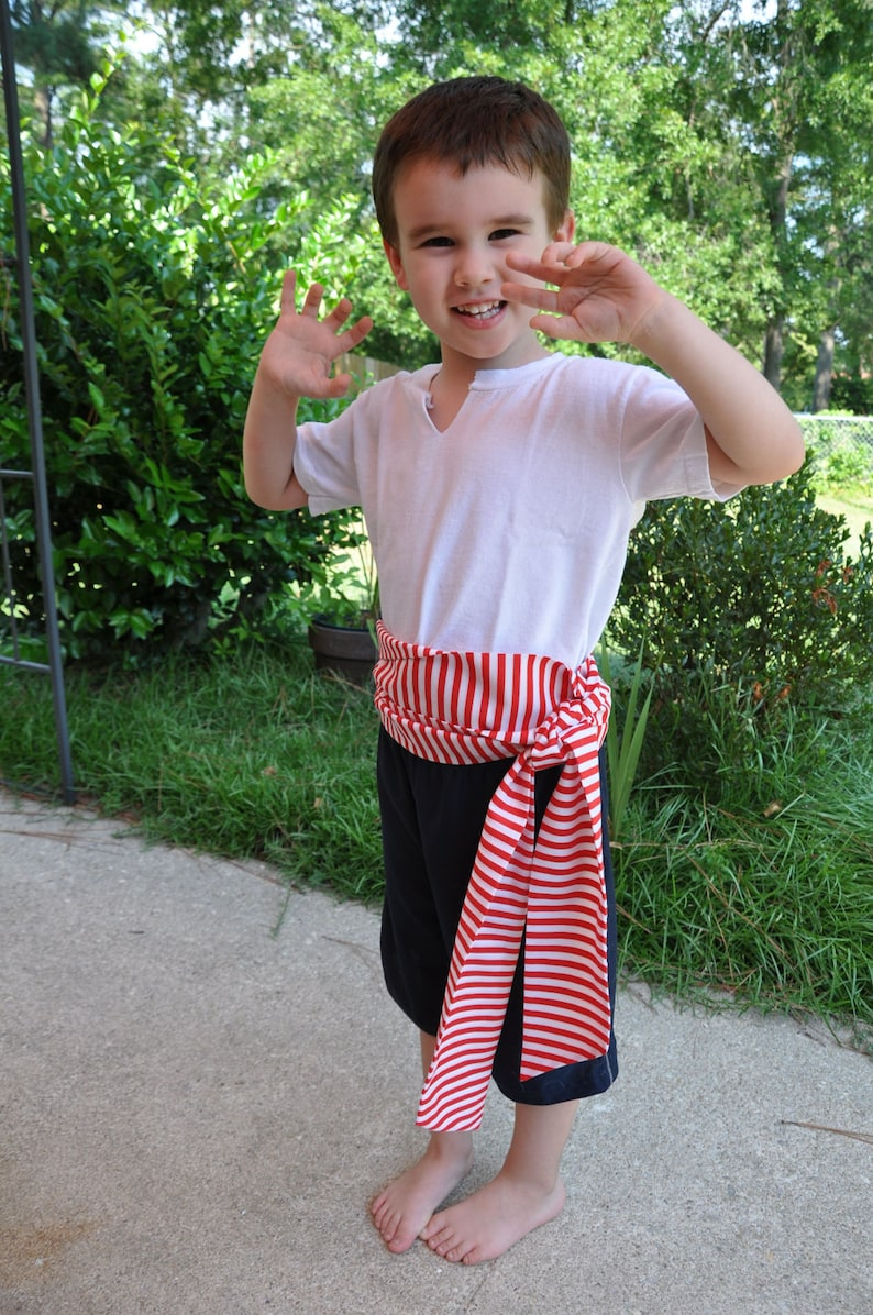 Pirate Sash Red and White Stripes. Pirate Belt. Striped Belt. image 0