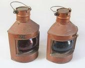 Vintage PORT and STARBOARD Lanterns COPPER Nautical Oil Lantern