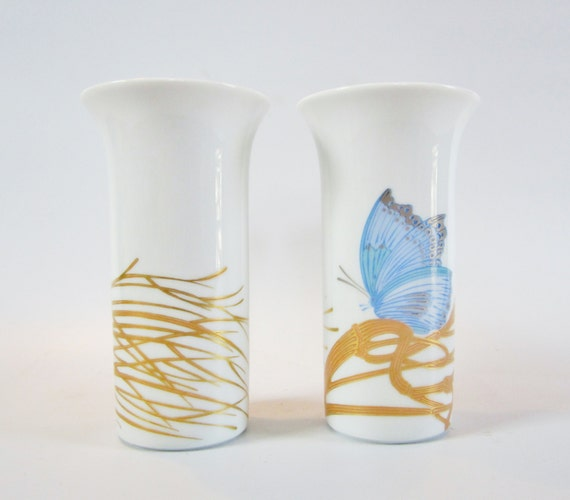 Vintage Rosenthal Vases Design By Alain Le Foll Butterfly Etsy