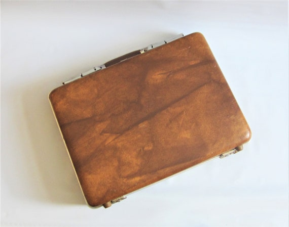 Vintage Briefcase Suitcase Carry-on FAUX LEATHER 1