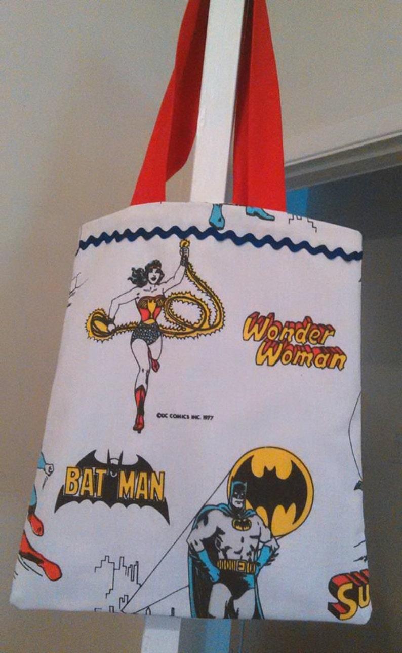 4efd6fbcefe4 Tote Bag Knitting bag Groceries Wonder Woman Batman Superman