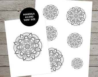 Printable Mandala (Design No.2) Hand Drawn - Ideal For Bullet Journal - A5 and Mini Size Mandalas - Printable Planner Stickers
