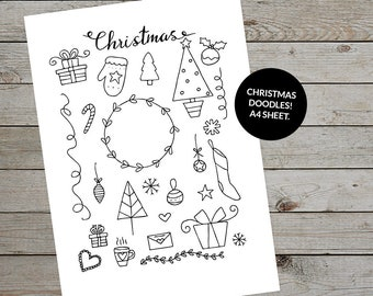 Printable Christmas Illustrations - Hand Drawn Christmas Doodles - Bullet Journal Template - Planner Stickers