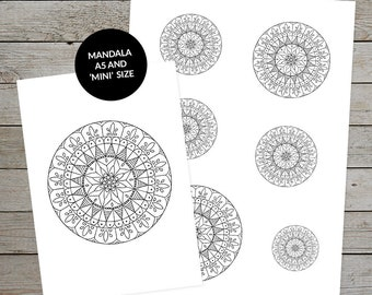 Printable Mandala (Design No.5) - Hand Drawn - Ideal For Bullet Journal - A5 and Mini Size Mandalas - Printable Planner Stickers