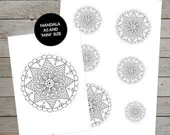 Printable Mandala (Design No.4) - Hand Drawn Mandala - Ideal For Bullet Journaling - A5 and Mini Sizes - Mandala Stickers - Planner Stickers
