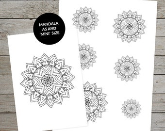 Printable Mandala (Design No.3) - Hand Drawn Mandala - Ideal For Bullet Journal - A5 and Mini Size Mandalas - Printable Planner Stickers
