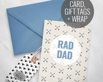 Printable Father's Day Card, Rad Dad printable card, Happy Father's Day Card, printable gift tags, guys greeting card, mens hipster card