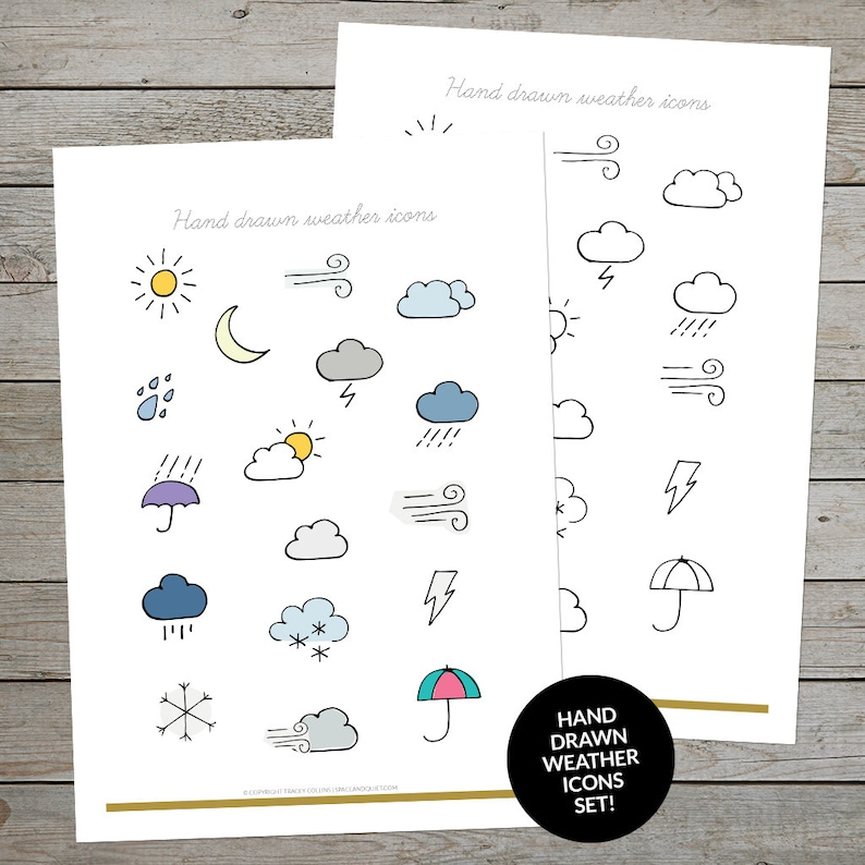 picture relating to Bullet Journal Symbols Printable named Printable Climate Icons - Temperature Planner Stickers - Bullet Magazine Temperature Doodles - Hand Drawn Weather conditions Symbols