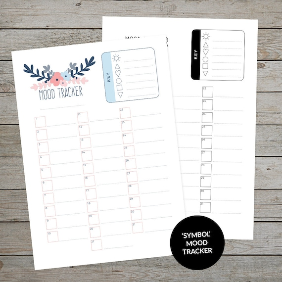 photograph relating to Mood Tracker Bullet Journal Printable titled Printable Temper Tracker - Bullet Magazine Temper Tracker - Emblem Temper Tracker - Printable Planner Increase