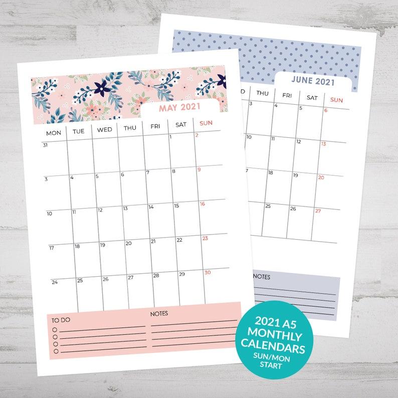 Printable 2021 Bullet Journal Calendar Monthly Calendars ...