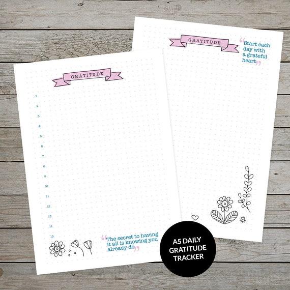 printable gratitude tracker bullet journal template planner