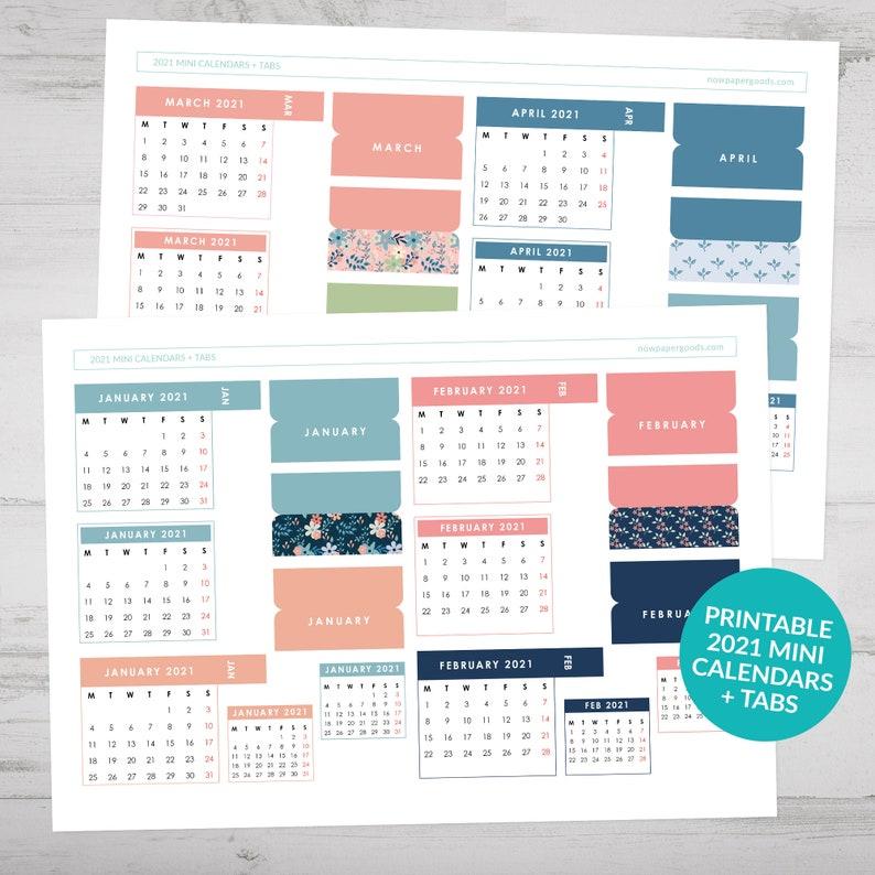 Printable 2021 Mini Calendars Page Tabs Mini Bullet ...