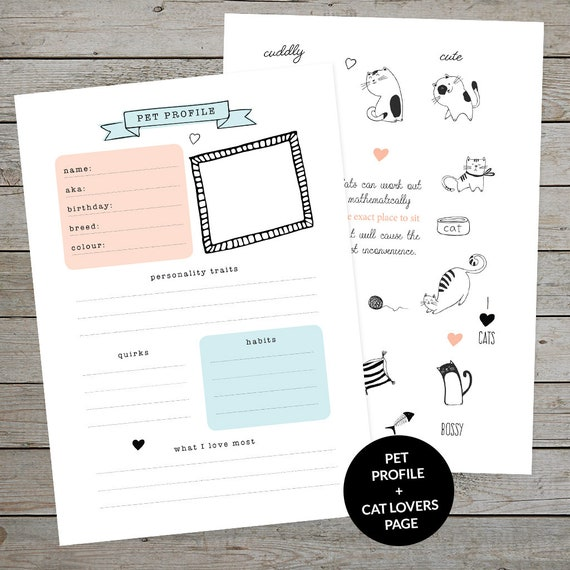 Printable Cat Lovers Bullet Journal Collection - Pet Profile Page