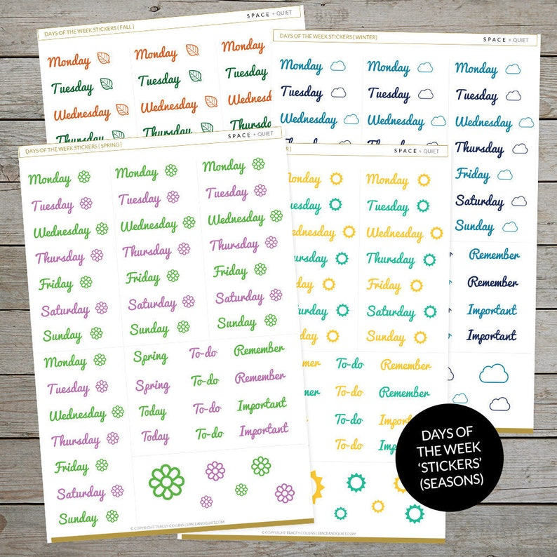 image regarding Printable Days of the Week named Printable Times Of The 7 days Stickers - Perfect For Bullet Magazine - Period Shades - Bullet Magazine stickers - Everyday Log Headings