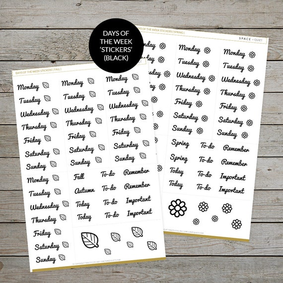 graphic about Bullet Journal Symbols Printable named Printable Times Of The 7 days Stickers - Desired For Bullet Magazine - Year Hues - Bullet Magazine stickers - Each day Log Headings