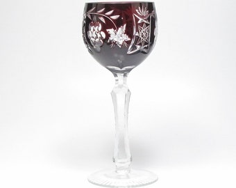 Art Glass Pair Of Bohemian Cranberry Cut To Clear Wine Hock Goblets Etched Star Design Other Bohemian/czech Art Glass