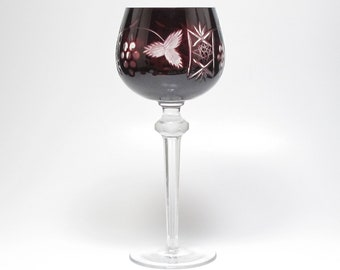 Pottery & Glass Pair Of Bohemian Cranberry Cut To Clear Wine Hock Goblets Etched Star Design Art Glass