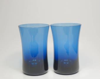 Mid Century Libbey Hand Blown Sapphire Blue Glasses, Libbey Blue Tumblers, Libbey Cobalt Blue Glasses, Libbey Flair Mouth Blue Glasses