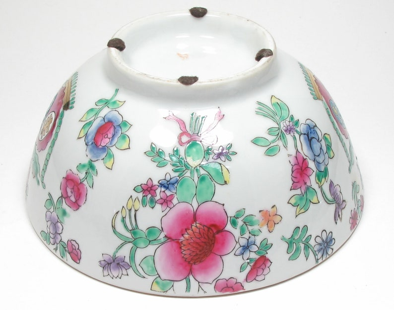 Vintage Marked Chinese Famille Rose Enamel Painted Footed Porcelain Bowl Pink Peonies Enameled Chinese Famille Rose Bowl