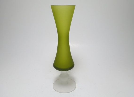 Vintage Venetian Satin Glass Green Footed Vase Satin Green