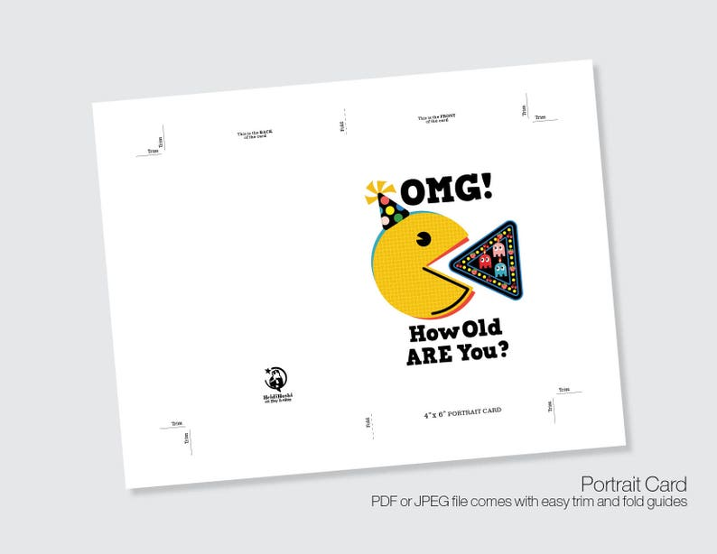 Retro Instant download Birthday Printable BIRTHDAY Cards OMG card Cartoon Birthday Cards Friendship Cards PacMan Pop Art Birthday