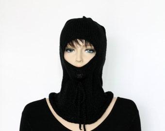 Black Ski Mask Knitted Balaclava Winter Balaclava Winter Hat Caps and Beanies Ski Cap Winter Cap Winter Beanie Hand knitted hat Knitted Hats