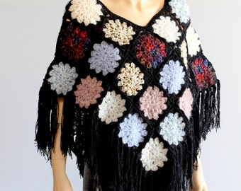 Crochet  Poncho Colorful Boho granny squares poncho Fringed Women's Pullover Sweater Knitted poncho
