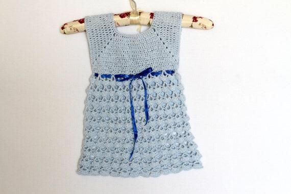Luz Azul De Ganchillo Vestido Niña Bebé Vestido Crochet Vestido De Niña 12 18 Meses